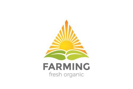 Modello verde naturale di vettore di progettazione di simbolo di azienda agricola biologica. Icona di forma del triangolo simbolo sole sopra foglie Archivio Fotografico - 93132020