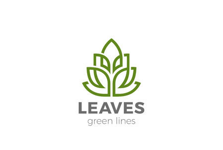 Green Organic Leaves Plant symbol design vector template Linear style. Eco Natural product cosmetics SPA symbol concept icon Illustration