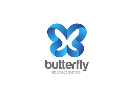 Modello di vettore di progettazione del nastro dell'estratto di logo della farfalla