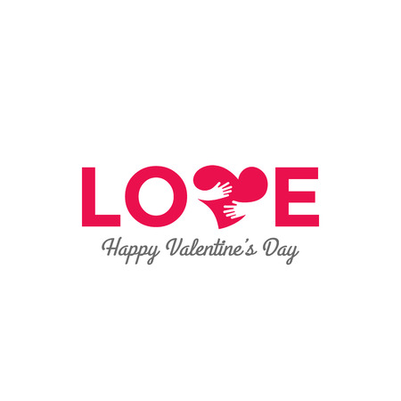 Love text Lettering vector design. Happy Valentines Day