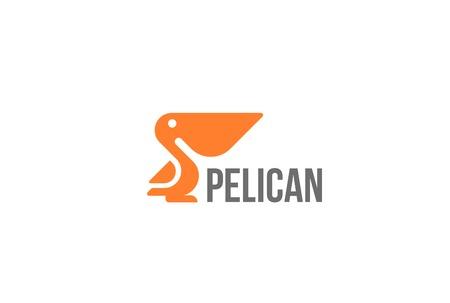 Pelican bird Logo abstract design vector template Geometric style