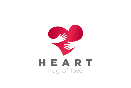Love Hug Heart Logo design vector template. Valentines Day Embrace symbol concept icon Çizim