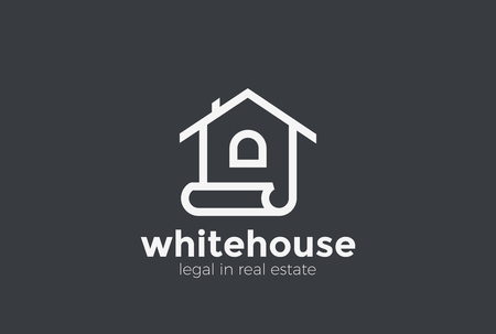 House Logo abstract design vector template Linear style. Real Estate company Logotype concept icon