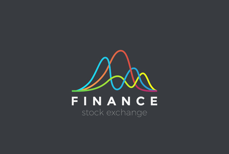 Financial Stock Exchange Market Charts Logo design abstract vector template. Finance company Logotype concept