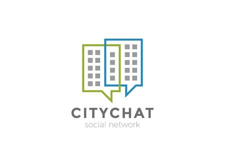 不動産チャットロゴデザインベクターテンプレート。都市ソーシャルコミュニケーションウェブロゴタイプコンセプトアイコン