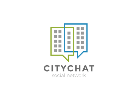 Real Estate Chat Logo design vector template. City Social Communication Web Logotype concept icon