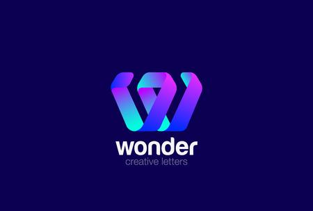 Letter W Logo ribbon design vector template Ilustrace
