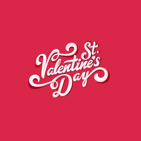 St. Valentines Day text vector Vintage Calligraphic Lettering design. Greeting invitation card banner poster template