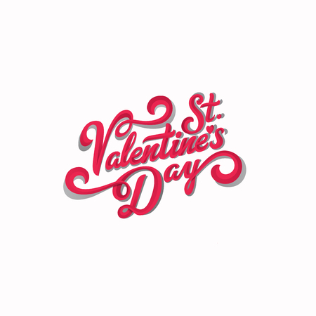 Valentine Day text vector Vintage Calligraphic Lettering design. Greeting invitation card banner poster template