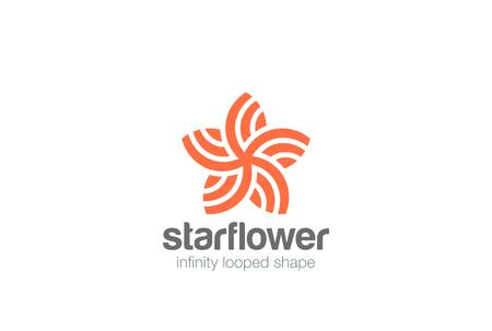 Star Flower abstract shape Logo design vector template Illustration
