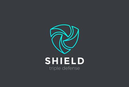 Shield Teamwork protect defense Logo design vector template Linear style