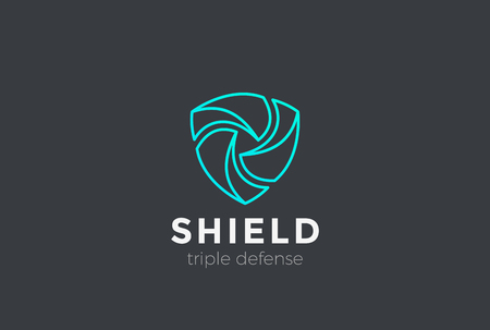 Shield Teamwork protect defense Logo design vector template Linear style