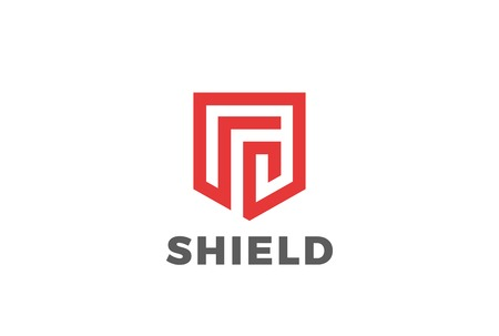 Shield protect defense Logo design vector template Linear style. Security Guardian Modern Heraldic Logotype
