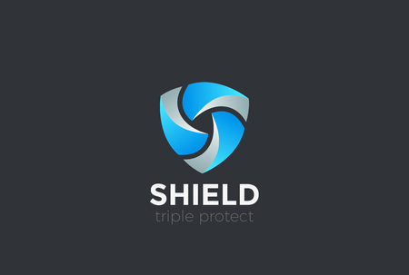 Shield Teamwork protect defense Logo design vector template Иллюстрация