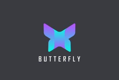 Butterfly geometric design abstract Logo vector template. Letter X violet technology style Logotype concept icon