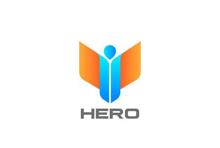 Diseño de logotipo de Hero Man with Wings