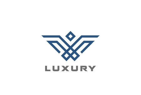 Geometric Heraldic Luxury Eagle Bird abstract Logo design vector template linear style