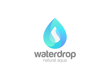 Water droplet shape abstract Logo design vector template. Natural Mineral Aqua Waterdrop Cosmetics SPA Logotype. Drop wave icon