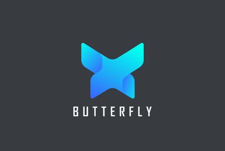 Modello di vettore di Logo astratto di disegno geometrico della farfalla. Icona di concetto di logo di stile di tecnologia di lettera X.