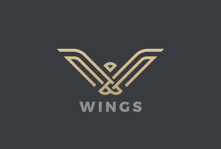 Luxury Eagle Bird abstract Logo design vector template linear style. Gold Geometric Heraldic Logotype concept icon