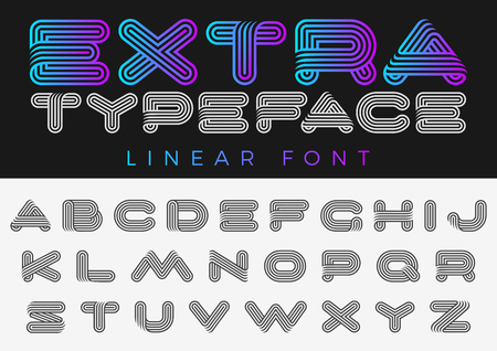 Vector alphabet font future design, linear style Illustration