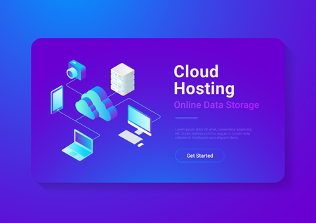 Isometric Flat Cloud computing Network vector illustration.