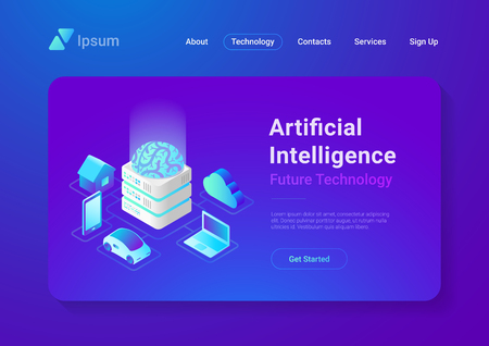 Artificial Intelligence digital Brain future technology isometric flat concept vector design. Laptop Electric Car Smartphone Brain House objects of AI