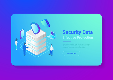 Security data protection isometric flat vector illustration concept. People works with server, laptop, mobile phone in cloud network.