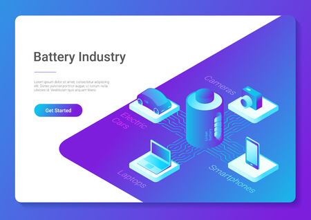Isometric flat electric car laptop smartphone camera using Li-ion Battery concept vector design template for website banner poster