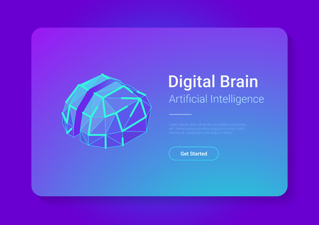 Digital Brain Isometric flat style vector design concept. Artificial intelligence technology AI illustration