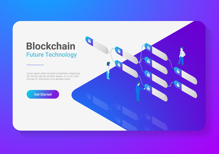 Blockchain Technology Isometric flat vector illustration concept. People using Block chain data