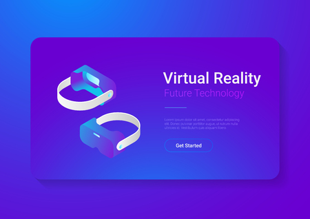 Isometric flat VR helmet Virtual Reality glasses vector illustration concept Reklamní fotografie - 98677383