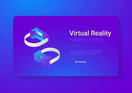 Isometric flat VR helmet Virtual Reality glasses vector illustration concept