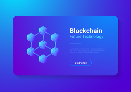 Blockchain Technology Isometric flat vector illustration concept. Hi tech Block chain data structure visualization Illustration