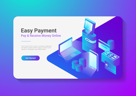 Isometric Flat Online Payment by Smartphone Laptop POS Terminal with Credit Debit Card Coins Cash Money