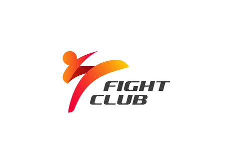 Fight Club Karate Kickboxing Taekwondo Logo design vector template.  Man doing High Kick Combat Logotype concept icon