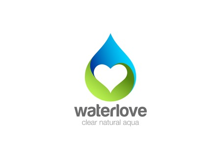 Water droplet Heart inside Logo design vector template. Love mineral natural aqua drop drink Logotype. Waterdrop concept icon