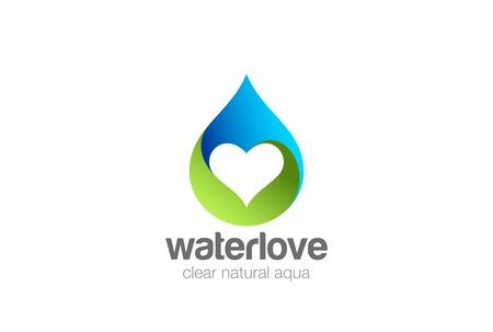 Waterdruppeltje Hart binnen Logo vector ontwerpsjabloon. Love minerale natuurlijke aqua drop drink Logotype. Waterdrop concept pictogram Logo