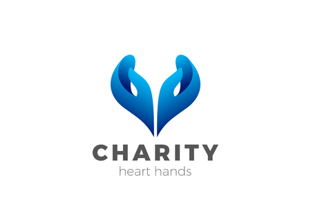 Charity Help Hands Heart shape Logo design vector template. Donation organization Logotype concept icon