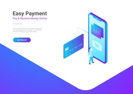 スマートフォンアイソメトリックフラットベクターイラストのクレジットカードによるオンライン決済。  イラスト・ベクター素材