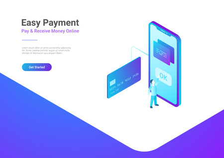 Online Payment by Credit Card on Smartphone isometric flat vector illustration.