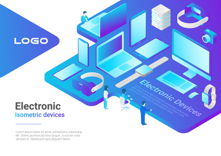 Isometric Flat electronic devices ultraviolet collection