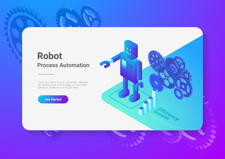 ロボットレトロスタイル フラットアイソメトリクスイラスト。  イラスト・ベクター素材