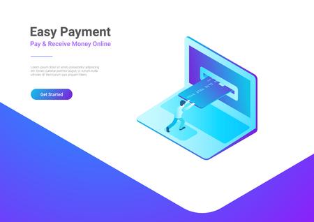 ラップトップアイソメトリックフラットベクターイラストのクレジットカードによるオンライン支払い。  イラスト・ベクター素材