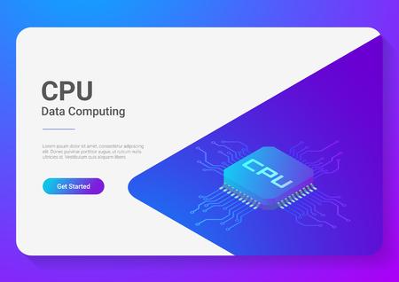 Isometric Flat CPU GPU Processor Chip vector illustration Illustration
