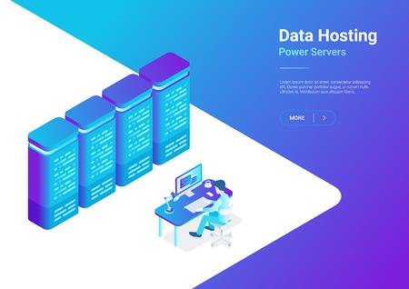 Web Online Data Hosting Server isometric flat vector illustration.