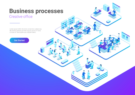 Isometric Flat People in Office vector illustration. Business Management Marketing Teamwork concept