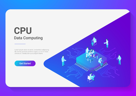 Isometric Flat People Working on CPU GPU Processor Chip vector illustration. Digital Technology Lab
