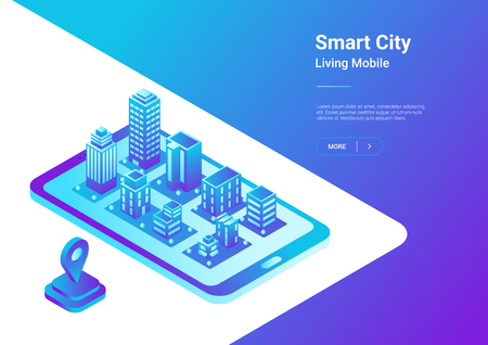 Isometric flat 3D Smart City Map in Mobile Phone Navigation vector illustration concept. Architecture Buildings as virtual town in smartphone Imagens - 101908363