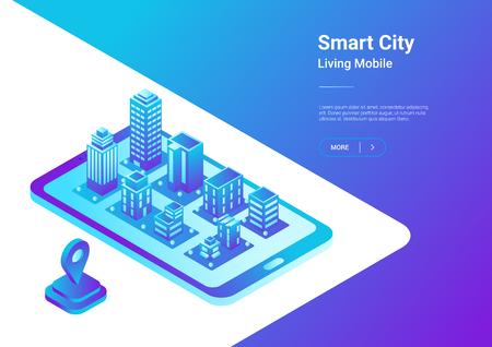 Mapa de ciudad inteligente 3D plano isométrico en concepto de ilustración de vector de navegación de teléfono móvil. Edificios de arquitectura como ciudad virtual en smartphone